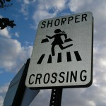 Shopper crossing sign, original