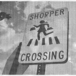 Shopper crossing sign, A4, 240x144, gray, cropped